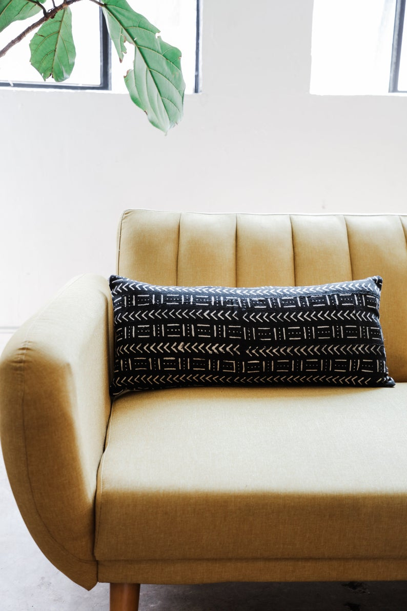 Black Mudcloth Lumbar Pillow