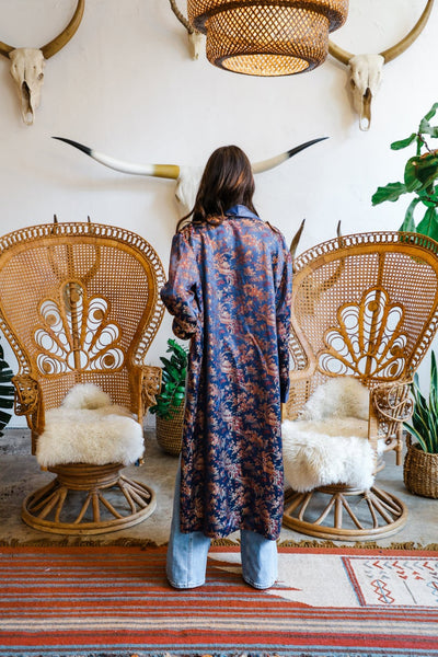 Vintage 1960's Oriental Royal Blue Brocade Robe