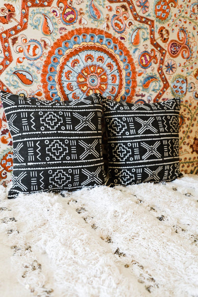 Black Mudcloth Pillows