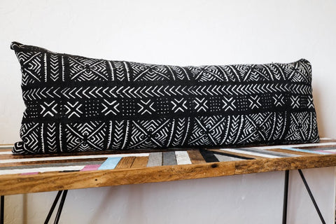 Black Mudcloth Extra Long Lumbar Pillow