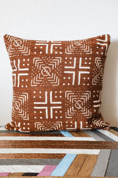 Brown Copper Mudcloth Pillows