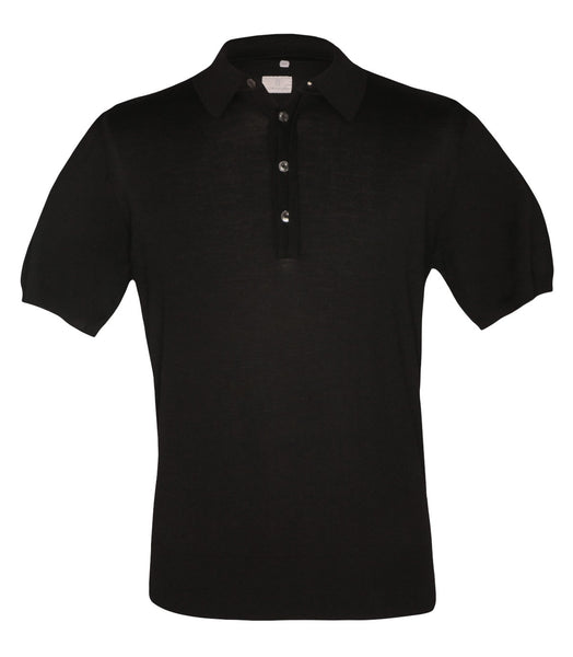 Black Wool Polo Knitwear