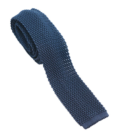 Navy Knitted Silk Tie