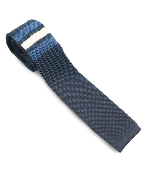 Navy Striped Knitted Silk Tie