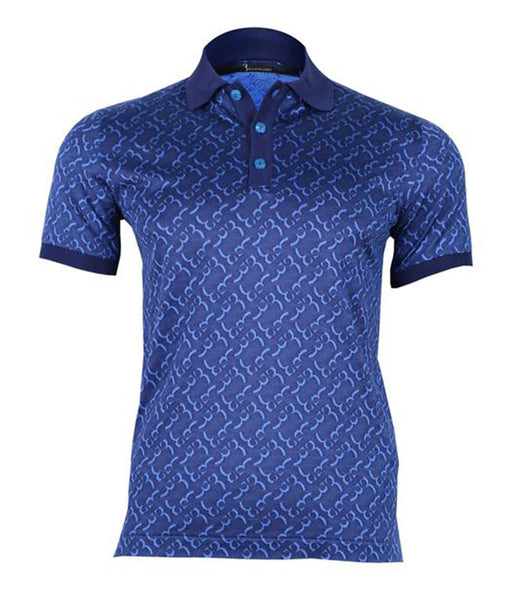 Blue Silk Polo Shirt