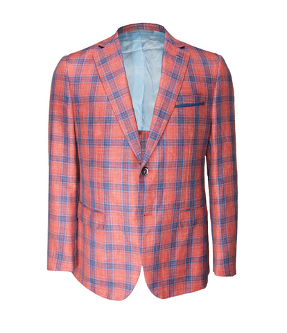 Coral Checked Jacket, Size L