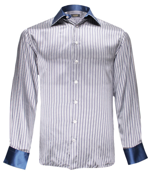 Grey Striped Silk Shirt
