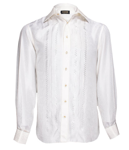 Off White Silk Shirt Jacquard