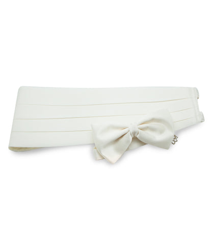 White Cummerbund Set