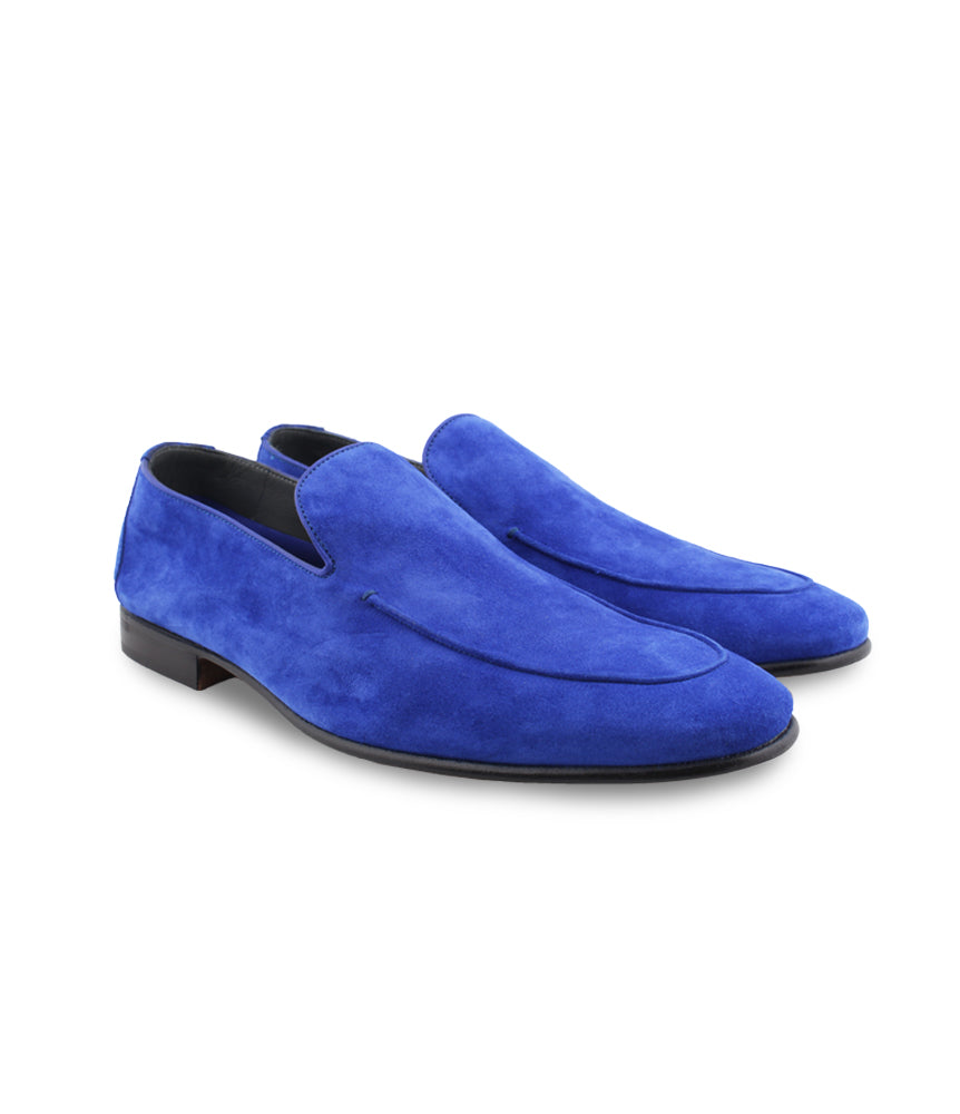 Royal Blue Suede Loafers with Leather