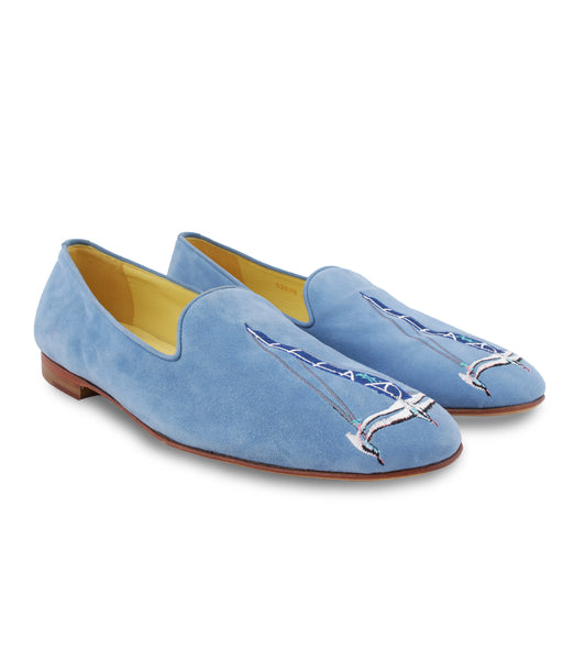 Sky Blue Suede Loafers
