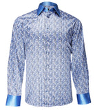 Luxury Blue Silk Shirt, Size 42