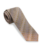Pleated Brown Silk Tie