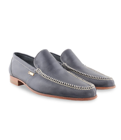 Dark Blue Calfskin Loafers