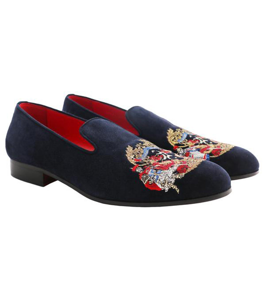 Dark Blue Suede Loafers with Contrast