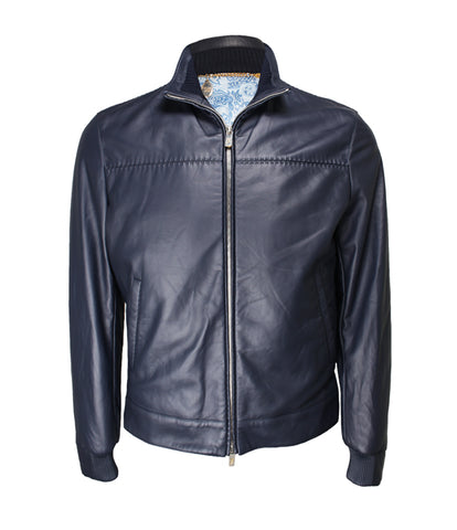 Dark Blue Leather Blouson