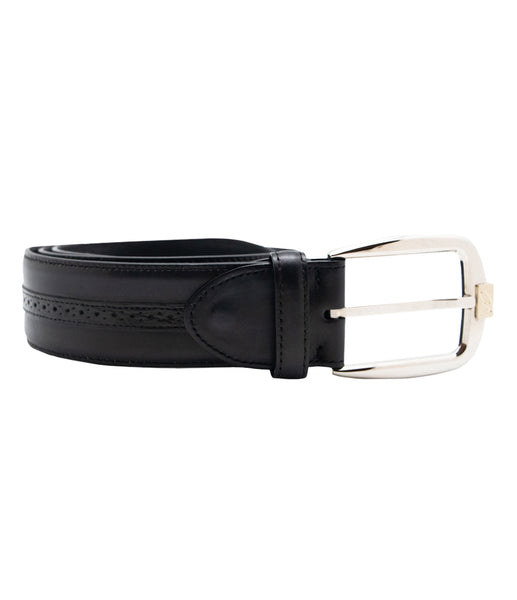 Black Grey Leather Belt