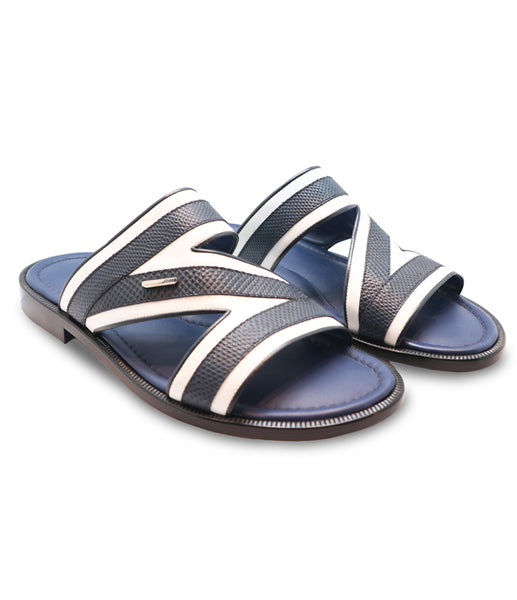 Navy White Leather Sandals