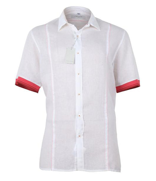 White Shirt with Red Details