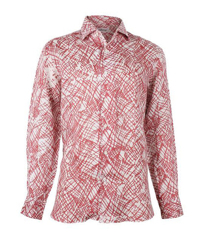 Red Patterned Linen Shirt