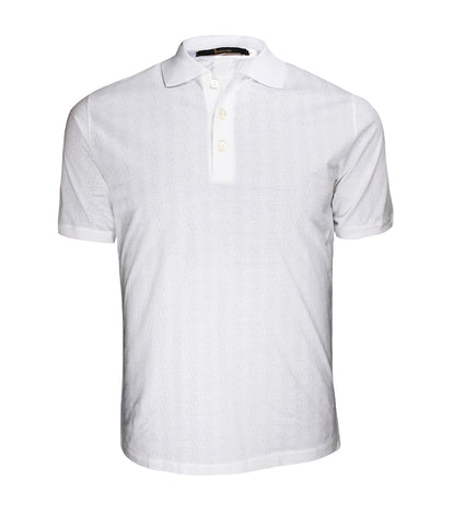 White Patterned Jersey Polo