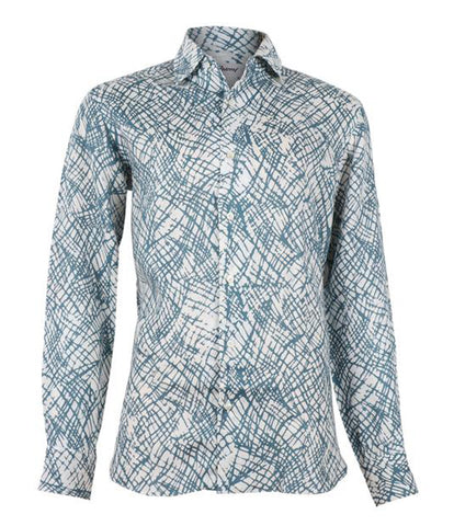 Blue Patterned Linen Shirt