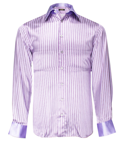 Purple Striped Silk Shirt