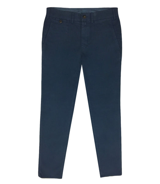 Blue Cotton Lyocell Chinos