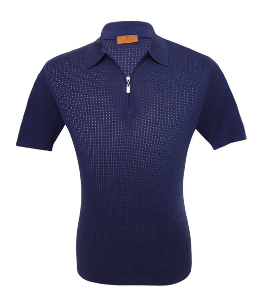 Dark Blue Silk Polo Knitwear