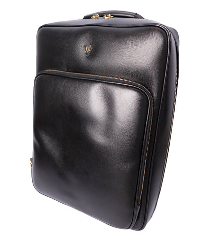 Black Men's Cavir Sleek Back-Pack (Bag), Full Cross Grain Calf Leather