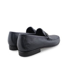 Navy Deerskin Loafers, Size 5