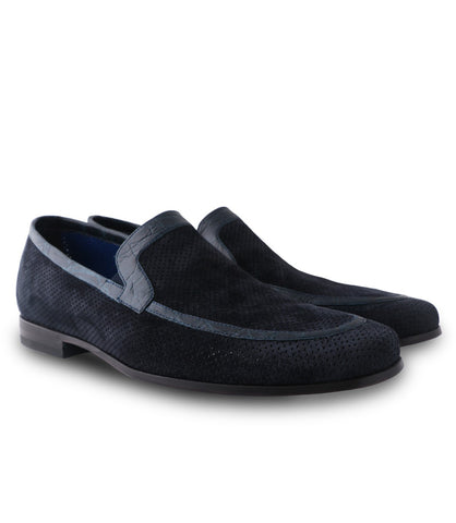Suede Loafers Croco Lining