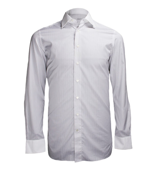 Grey Striped Formal Shirt