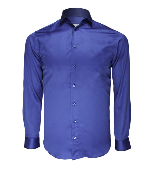 Blue Cotton Dress Shirt