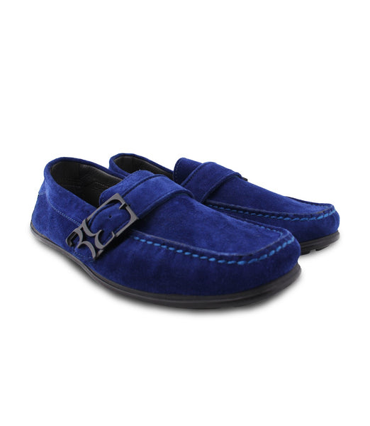 Blue Suede Driver Moccasins