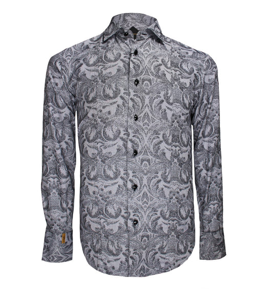 Black Grey Floral Shirt Paris