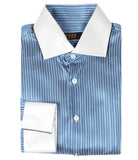Blue Striped Silk Shirt