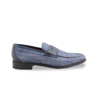 Navy Canvass Croco Loafers