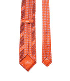 Pleated Orange Silk Tie