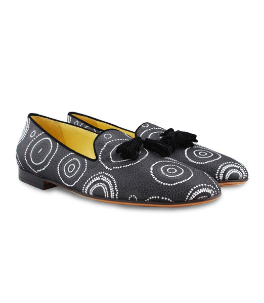 Grey Patterned Tassel Loafers