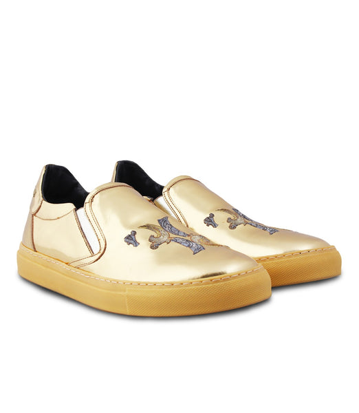 Metallic Gold Slip-ons