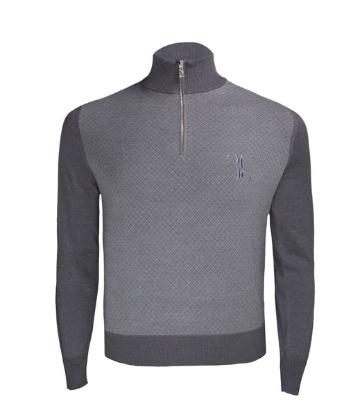 Grey Wool Polo Sweater