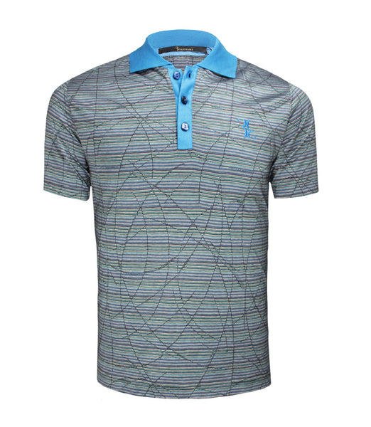 Blue Striped Jersey Polo