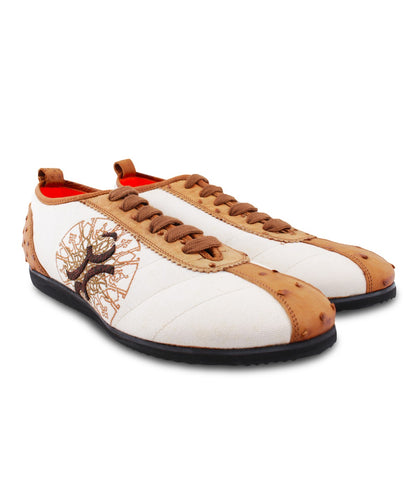 White Brown Ostrich Sneakers