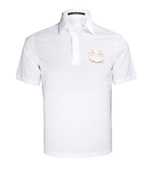 White Polo Tee With Logo Print