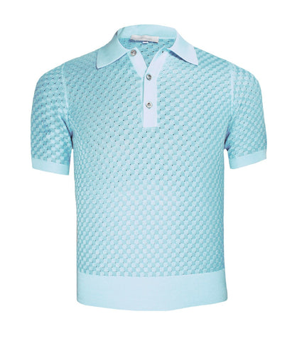 Blue Knitted Polo