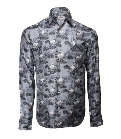 Light Grey Printed Silk Shirt