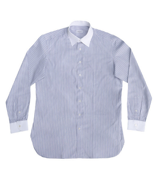 Grey Blue Striped Shirt