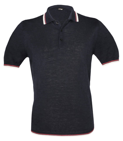 Navy Silk Linen Polo, Size S