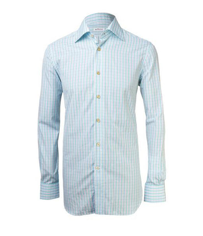 Turquoise White Checked Shirt